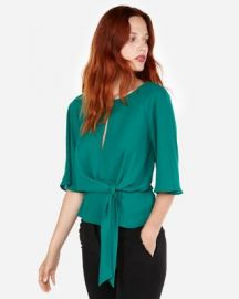 Tie Front Flutter Sleeve Blouse at Express