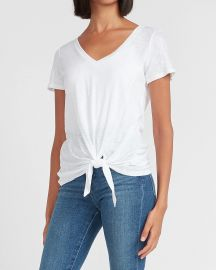 Tie Front Slim Tee at Express