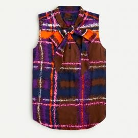 Tie-Neck Blouse in Speckled Plaid by J. Crew at J. Crew