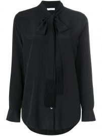 Tie Neck Blouse with Fringe Detail by Equipment at Farfetch