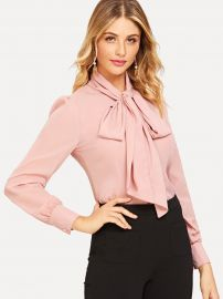Tie Neck Curved Hem Blouse at Shein