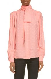 Tie Neck Print Silk Blouse at Nordstrom