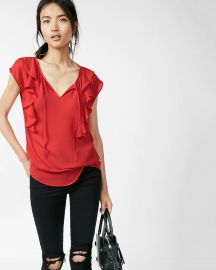 Tie Neck Ruffle Front Cap Sleeve Blouse at Express