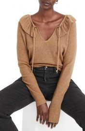 Tie Neck Ruffle Pullover Sweater at Nordstrom