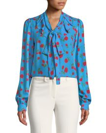 Tie-Neck Scattered Rose-Print Silk Georgette Blouse at Bergdorf Goodman