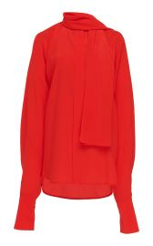 Tie-Neck Silk-Crepe Blouse at Moda Operandi