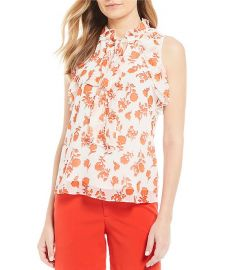 Tie Neck Sleeveless Top with Ruffle Detail at Dillards