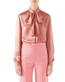 Tie-Neck Washed Silk Satin Shirt by Gucci at Bergdorf Goodman