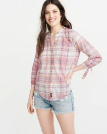 Tie Sleeve Button-up Shirt by Abercrombie & Fitch at Abercrombie & Fitch