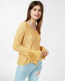 Tie Sleeve Split Back Sweater at Express
