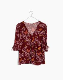 Tie-Sleeve Wrap Top in Butterfly Sanctuary at Madewell