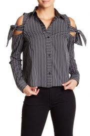 Tie-Up Cold Shoulder Stripe Shirt at Nordstrom Rack