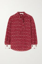 Tie-detailed printed silk blouse at Net a Porter