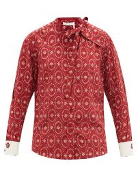 Tie-neck medallion-print silk-crepe blouse at Matches