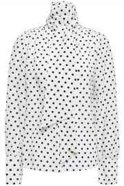 Tie-neck polka-dot silk crepe de chine blouse at The Outnet