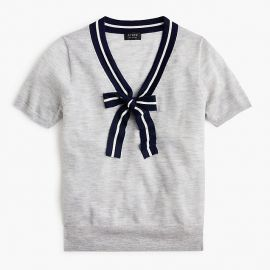 Tie-neck short-sleeve sweater in everyday cashmere by J. Crew at J. Crew