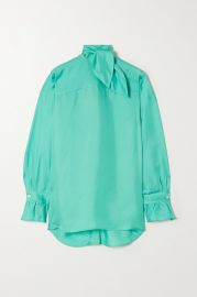 Tie-neck silk-twill blouse at Net a Porter