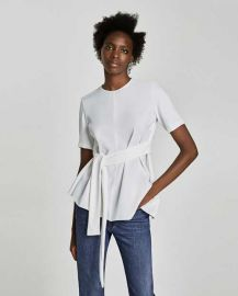 Tie waist blouse at Zara