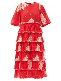 Tiered Floral-Print Pleated-Georgette Midi Dress by Ganni at Matches