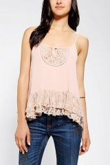 Tiered Lace Hem Cami at Urban Outfitters