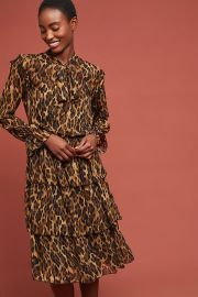 Tiered Leopard Dress at Anthropologie