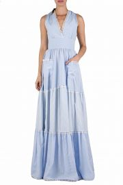 Tiered Mixed Cotton Maxi Dress at Luisa Beccaria