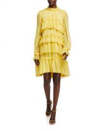Tiered Ruffle Silk Chiffon Dress at Bergdorf Goodman