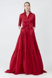 Tiered Taffeta Shirt Dress at Carolina Herrera