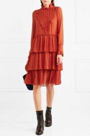 Tiered ruffled chiffon dress at Net A Porter
