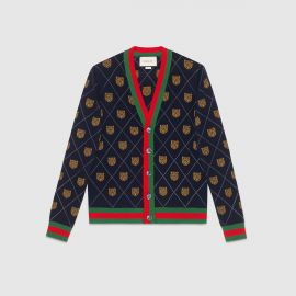 Tiger Argyle Wool Cardigan by Gucci at Gucci