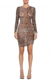 Tiger Mist Aarya Sheer Leopard Print Long Sleeve Body-Con Dress   Nordstrom at Nordstrom