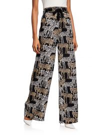 Tiger-Print Charmeuse Pajama Pants at Bergdorf Goodman