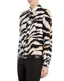 Tiger-Print Crepe de Chine Shirt at Bergdorf Goodman