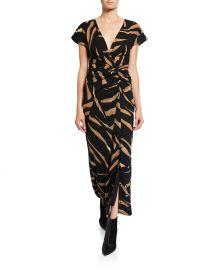 Tiger-Print Short-Sleeve Wrap Dress at Bergdorf Goodman