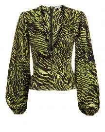 Tiger Print Silk Blouse at Intermix