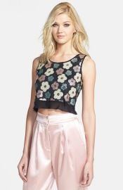 Tildon Sequin Floral Crop Top at Nordstrom