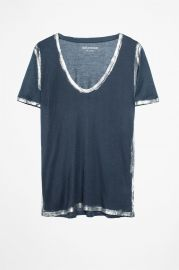 Tino Gold Foil-Trimmed Tee by Zadig  Voltaire at Zadig and Voltaire