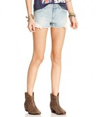 Tinseltown Juniors Shorts Crochet-Applique Light Wash Cutoff - Juniors - Macys at Macys