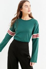 Tipped Striped Long Sleeve Tee  Urban Outfitters at Urban Outfitters