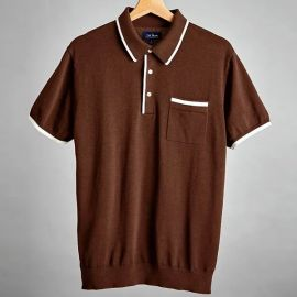 Tipped Cotton Sweater Brown Polo at Tie Bar