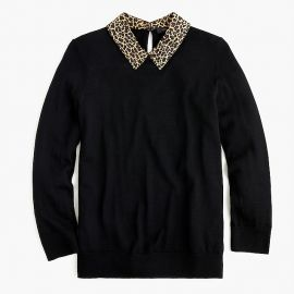 Tippi Sweater with Leopard Collar at J. Crew