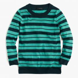 Tippi sweater in mixed stripe in Verdigris Sherwood at J. Crew