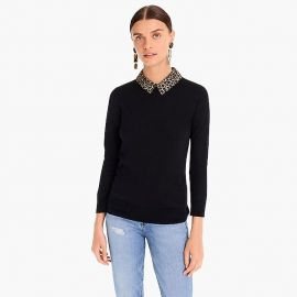 Tippi sweater with leopard collar by J. Crew at J. Crew