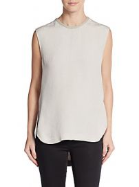 Tissue Silk Leather Trim Tunic Top by Helmut Lang  at Saks Off 5th