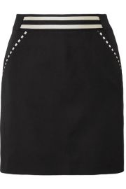 Tomas Maier   Striped grain de poudre wool mini skirt at Net A Porter