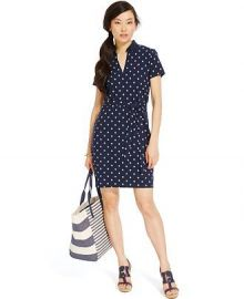 Tommy Hilfiger Belted Samantha Polo Dress in Navy at Macys