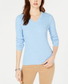 Tommy Hilfiger Cotton Cable-Knit Sweater at Macys