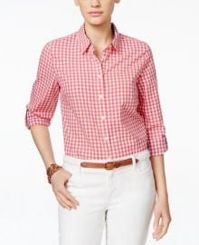 Tommy Hilfiger Gingham Shirt in Coral at Macys
