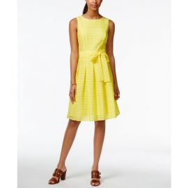 Tommy Hilfiger Illusion-Striped Fit   Flare Dress yellow at Macys