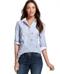 Tommy Hilfiger Long-Sleeve Embroidered Shirt - Tops - Women - Macys at Macys